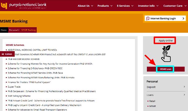 PNB Mudra Online Application Form