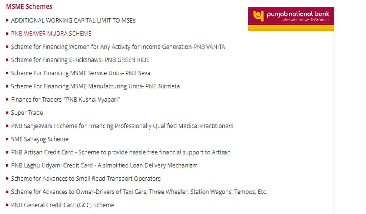 Punjab National Bank Mudra Loan Scheme